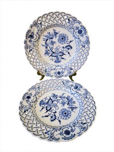 Teichert Meissen blue onion reticulated pair of plates - antique porcelain at Antik Seramika