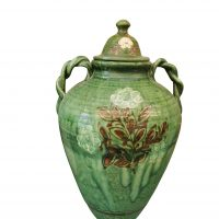 Vintage Green and floral large oil jar with lid possibly Tito pottery from Antik Seramika
