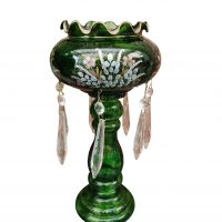 Art Nouveau Bohemian green glass lustre possibly Moser - art nouveau glass at Antik Seramika