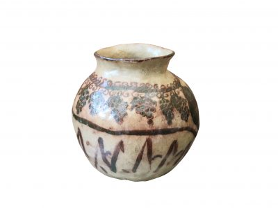 Antique earthenware wine pot with grape and vine decoration - Antik Seramika