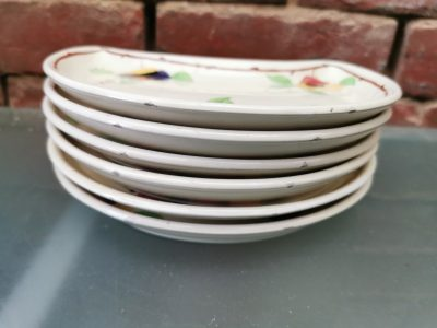 George Jones half moon art deco set of six plates - Antik Seramika