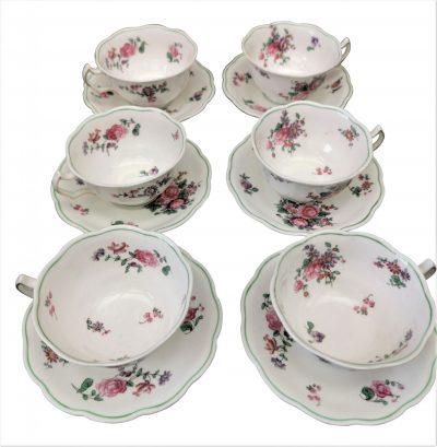 Antique George Jones Crescent china set of six floral cups and saucers - Antik Seramika