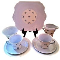 Art Deco Shelley Charm blue cornflower 9 piece tea set