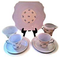 Art Deco Shelley Charm blue cornflower 9 piece tea set