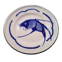 Vintage Goldfish brand blue and white enamel fish plate - vintage enamel from Antik Seramika