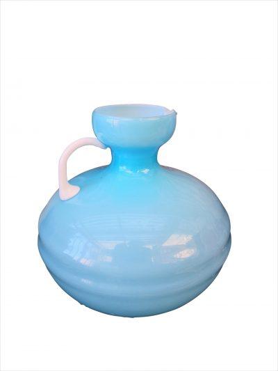 Mid century retro Empoli art glass turquoise cased glass jug from a range of vintage glass at Antik Seramika