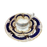 Antique Bishop and Stonier Bisto hand painted cobalt and gilt trio