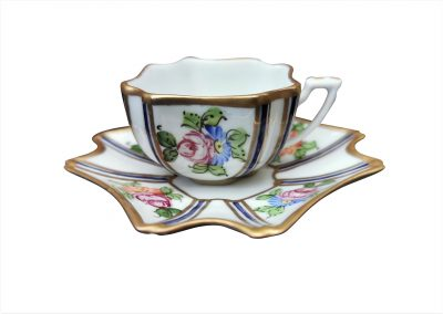 Antique hand painted Miniature Limoges cup and saucer by J Dumont - Antik Seramika