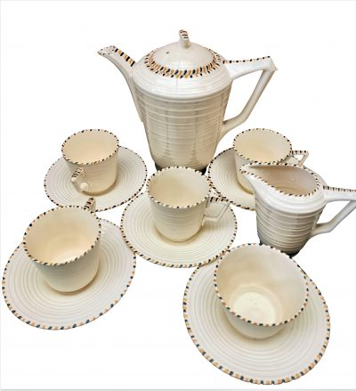 Art Deco Crown Ducal cream ribbed coffee set from Antik Seramika