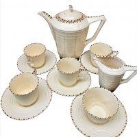Art Deco Crown Ducal cream ribbed coffee set from Antik Seramika