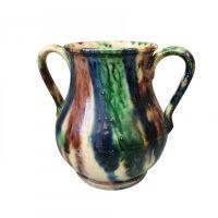 Belgain Art nouveau drip glaze two handles vase -antique and art nouveau pottery from Antik Seramika