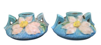 Roseville Clematis pair of art nouveau sky blue candle holders from a range of Continental art pottery at Antik Seramika