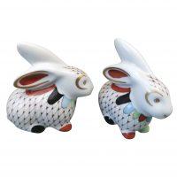 Herend Style vintage Hollohaza porcelain rabbits x 2 from Antik Seramika