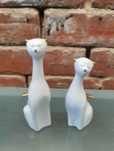 Hollohaza hungary porcelain mid century retro cat figurines