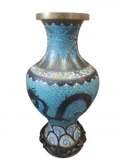 Vintage Antique Chinese Cloisonne blue vase with wooden stand from Antik Seramika