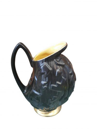 Retro mid-century Crown Devon modernish shape black jug with yellow interior - Antik Seramika