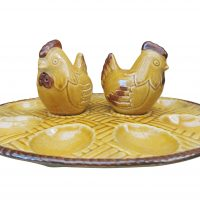 Vintage Carlton Ware devilled egg set in ochre - Mid century pottery from Antik Seramika