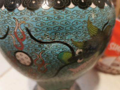 Antique Vintage Cloisonne blue vase on wooden stand from Antik Seramika