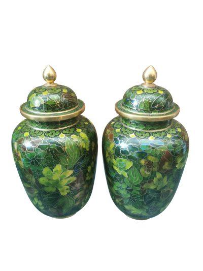Vintage Chinese Green Cloisonne ginger jars with lids from Antik Seramika