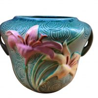 Roseville vintage art pottery blue green Zephyr lily planter