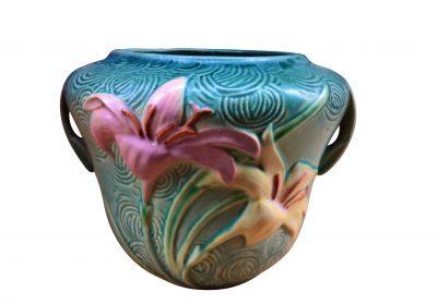 Roseville vintage art pottery blue green Zephyr lily planter